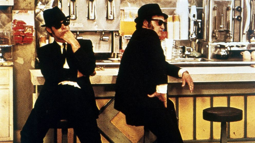 "Dan Aykroyd, left, and John Belushi in a scene from the movie, ""The Blues Brothers."""