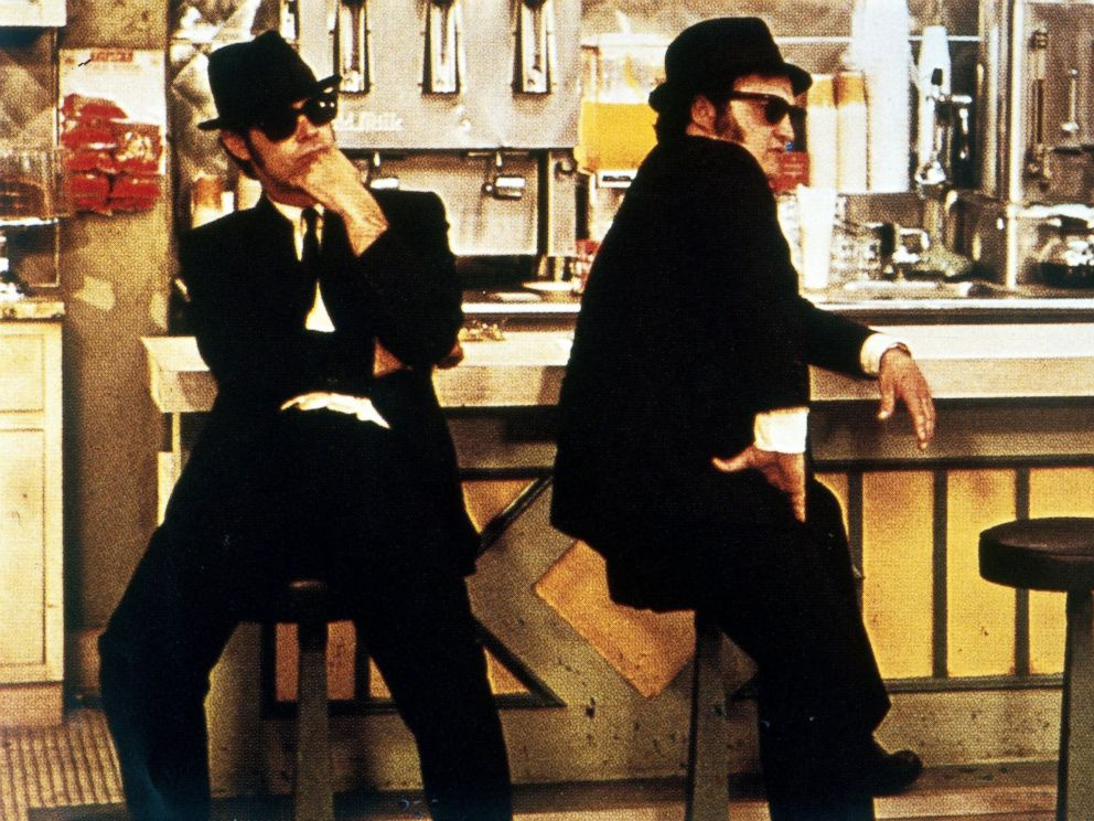 PHOTO: Dan Aykroyd, left, and John Belushi in a scene from the movie, The Blues Brothers.