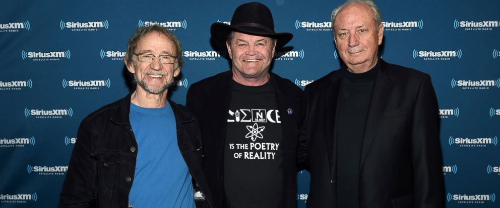 """PHOTO:Peter Tork, Micky Dolenz, and Michael Nesmith of The Monkees attend SiriusXMs """"Town Hall"""" with The Monkees, May 16, 2016, in Nashville, Tenn."""