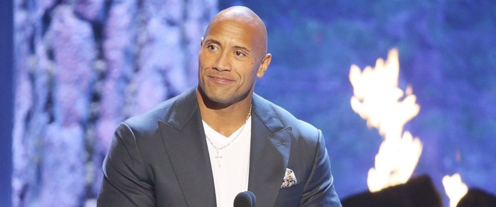"PHOTO: Dwayne Johnson aka The Rock speaks onstage during the Spike TVs ""Guys Choice 2015"" held at Sony Pictures Studios, June 6, 2015, in Culver City, Calif."
