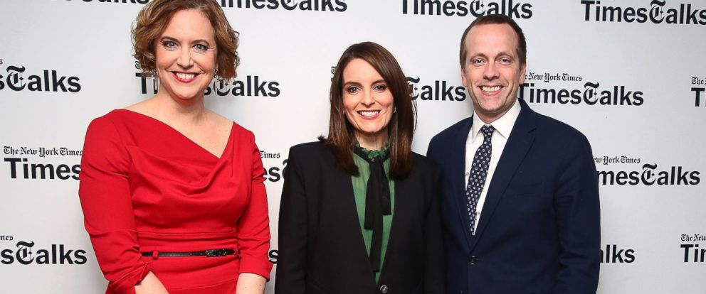 PHOTO:Kim Barker, Tina Fey and Robert Carlock attend TimesTalks presents Whiskey Tango Foxtrot, March 2, 2016 in New York.