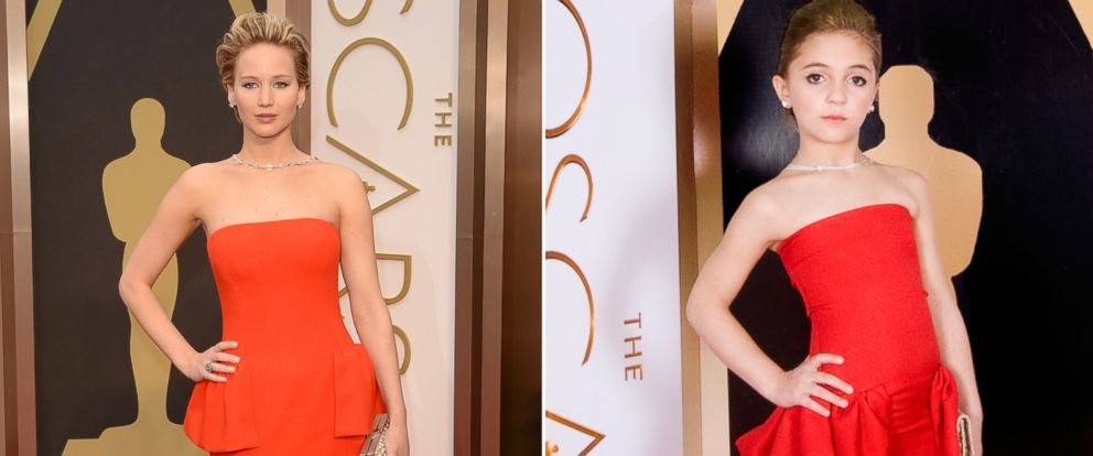 PHOTO: Jennifer Lawrence attends the 86th Annual Academy Awards, March 2, 2014 in Hollywood, Calif. | A model from Toddlewood.com recreated the red carpet moment with help from Creator/Photographer Tricia Messeroux and Designer Andrea Pitter.