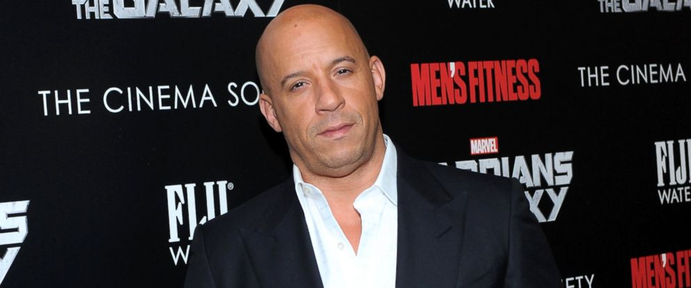 """PHOTO: Vin Diesel attends The Cinema Society with Mens Fitness & FIJI Water host a screening of """"Guardians of the Galaxy,"""" July 29, 2014, in New York."""