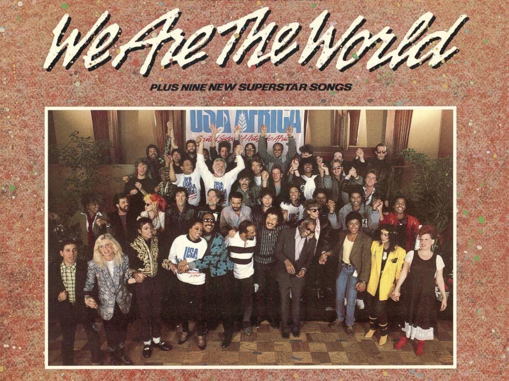 PHOTO: Front cover of the USA for Africa We are the World record album.