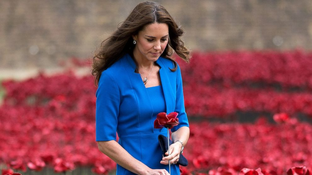 Catherine, Duchess of Cambridge visits The Tower Of London's Ceramic Poppy installation 'Blood Swept Lands and Seas of Red' by artist Paul Cummins, commemortating the 100th anniversary of the outbreak of First World War in London, England, Aug. 5, 2014.