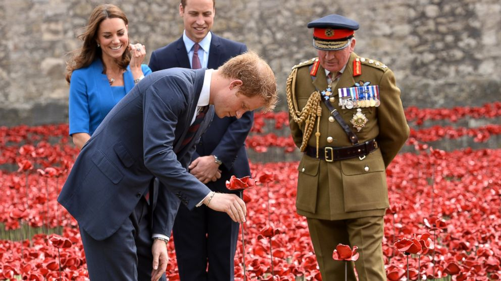 Prince Harry, Catherine, Duchess of Cambridge and Prince William, Duke of Cambridge visit the Tower of London's 'Blood Swept Lands and Seas of Red' poppy installation in London, England, Aug. 5, 2014.