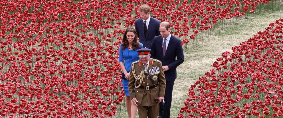 PHOTO: General The Lord Dannatt gives Prince Harry, Catherine, Duchess of Cambridge and Prince William, Duke of Cambridge a tour as they attend the ceramic poppy field of remembrance at Tower of London in London, England, August 5, 2014.