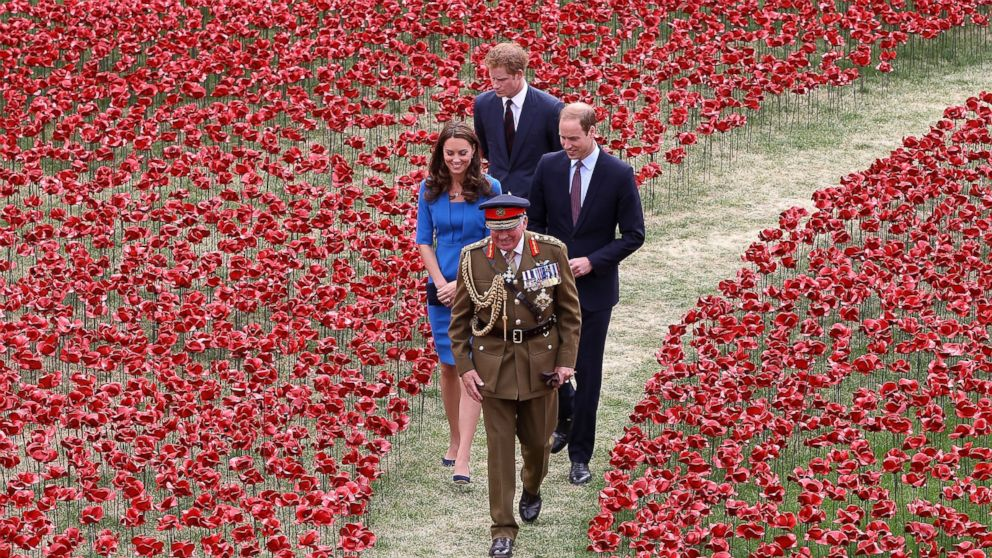 General The Lord Dannatt, Constable of the Tower of London gives Prince Harry, Catherine, Duchess of Cambridge and Prince William, Duke of Cambridge a tour as they attend the ceramic poppy field of remembrance at Tower of London in London, England, August 5, 2014.
