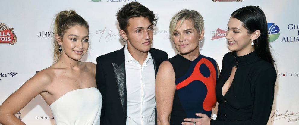 """PHOTO: Gigi Hadid, Anwar Hadid, Yolanda Foster and Bella Hadid attend the Global Lyme Alliance """"Uniting for a Lyme-Free World"""" Inaugural Gala at Cipriani 42nd Street, Oct. 8, 2015, in New York."""