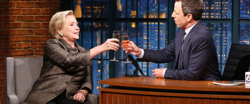 PHOTO: Hillary Rodham Clinton during an interview with host Seth Meyers on November 8, 2017