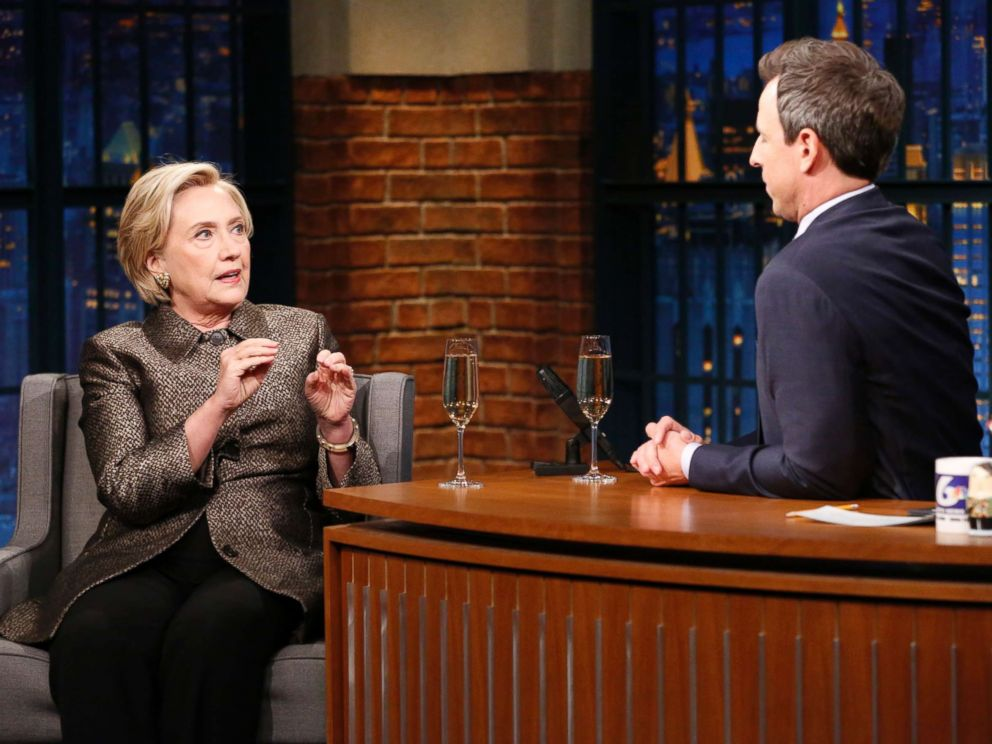 PHOTO: Hillary Rodham Clinton during an interview with host Seth Meyers on November 8, 2017.