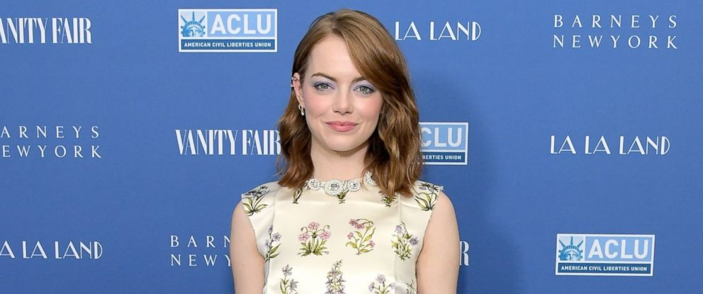 "PHOTO: Emma Stone attends Vanity Fair and Barneys New York Private Dinner in Celebration of ""La La Land"" at Chateau Marmont on Feb. 22, 2017 in Los Angeles."