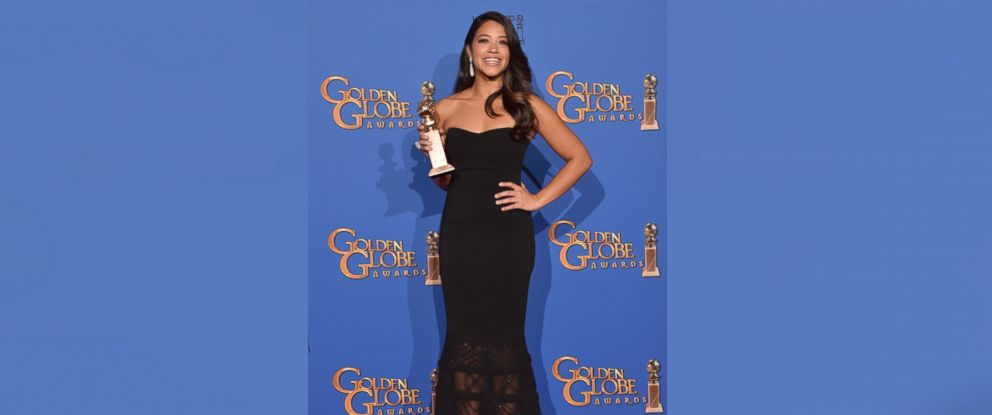 PHOTO: Gina Rodriguez, winner of Best Actress in a TV Series, Musical or Comedy for Jane the Virgin, poses in the press room during the 72nd Annual Golden Globe Awards on Jan. 11, 2015 in Beverly Hills, Calif.
