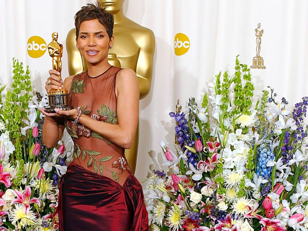 PHOTO: Halle Berry holds her Oscar after winning the award for best actress in a leading role for Monsters Ball, March 24, 2002, at the 74th Academy Awards at the Kodak Theater in Hollywood, California.