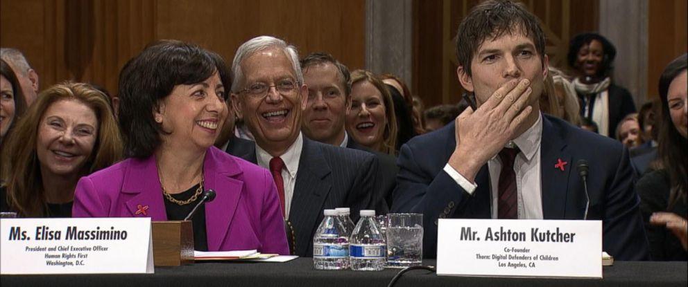 PHOTO: Actor Ashton Kutcher blows Sen. John McCain a kiss at the start of his testimony before a Senate Foreign Relations Committee hearing, Feb. 15, 2017, in Washington, DC.