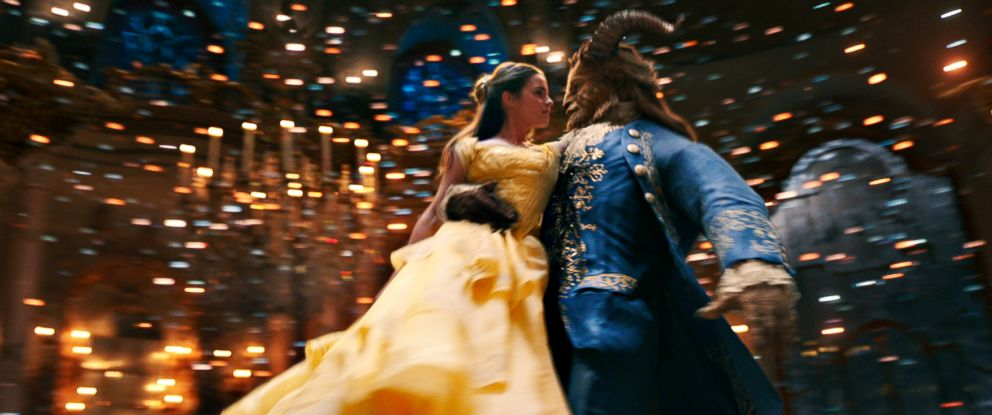 "PHOTO: Emma Watson as Belle and Dan Stevens as the Beast in a scene from ""Beauty and the Beast."""