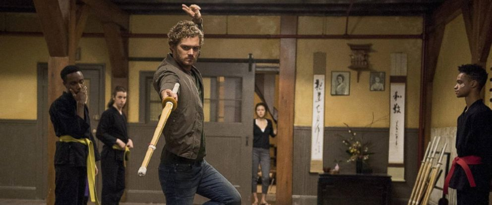 "PHOTO: Finn Jones, Jessica Henwick, and Donte Grey in the movie, ""Iron Fist,"" 2017."