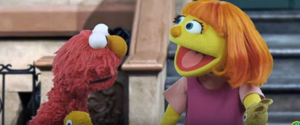 """PHOTO: """"Sesame Street"""" introduces the newest muppet, Julia, who has autism."""