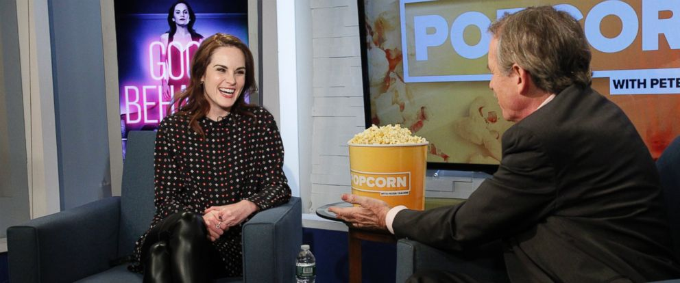 """PHOTO: Michelle Dockery stopped by ABC News """"Popcorn With Peter Travers."""""""