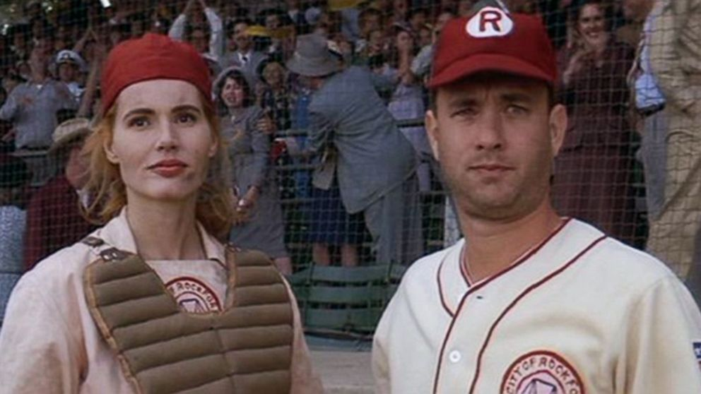 "Geena Davis and Tom Hanks in ""A League of Their Own."""