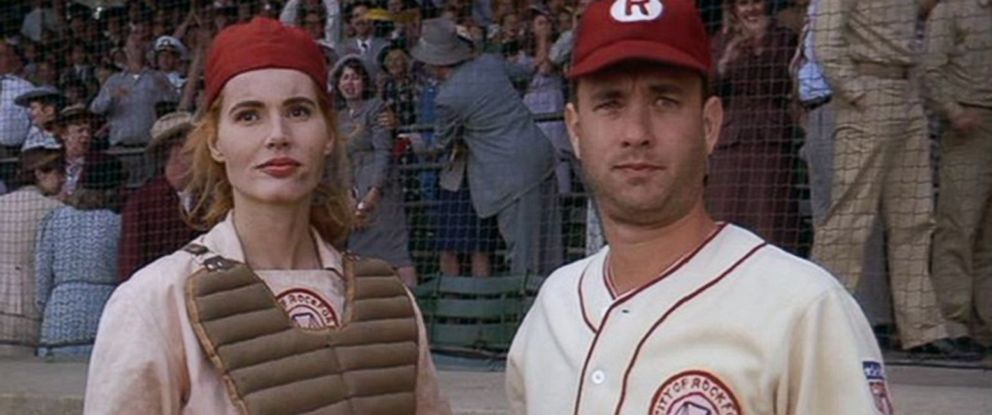 """PHOTO: Geena Davis and Tom Hanks in """"A League of Their Own."""""""