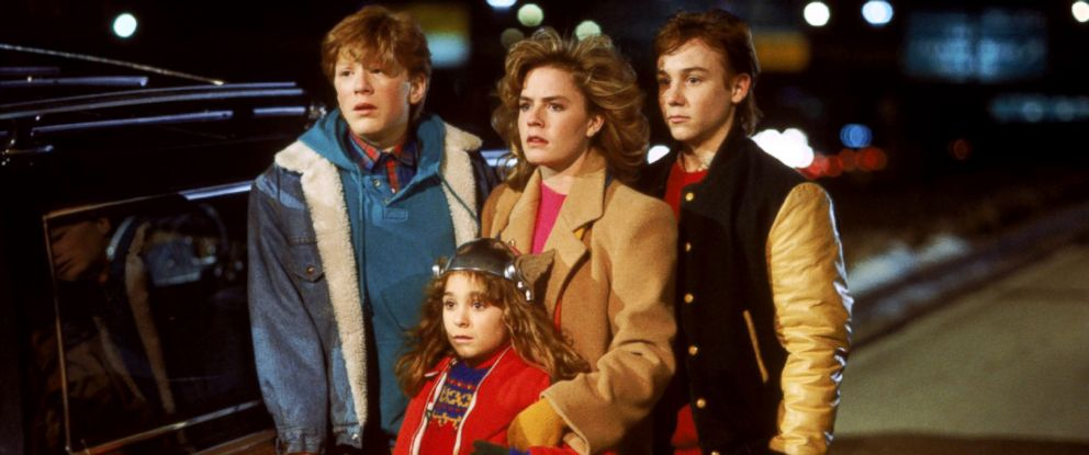 "PHOTO: Anthony Rapp, left, as Daryl, Elisabeth Shue, as Chris, Keith Coogan, as Brad, and Maia Brewton, front center, as Sara, in a scene from ""Adventures in Babysitting."""