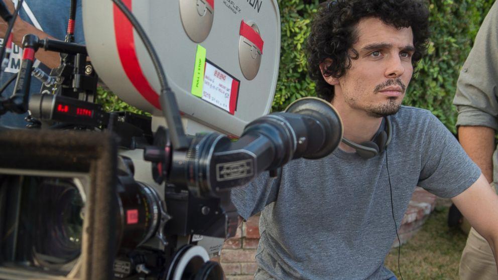 Director Damien Chazelle is seen here on the set of La La land.