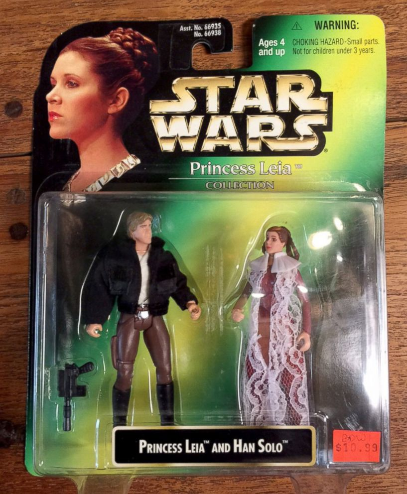 PHOTO: Princess Leia and Han Solo action figure in its original packaging.