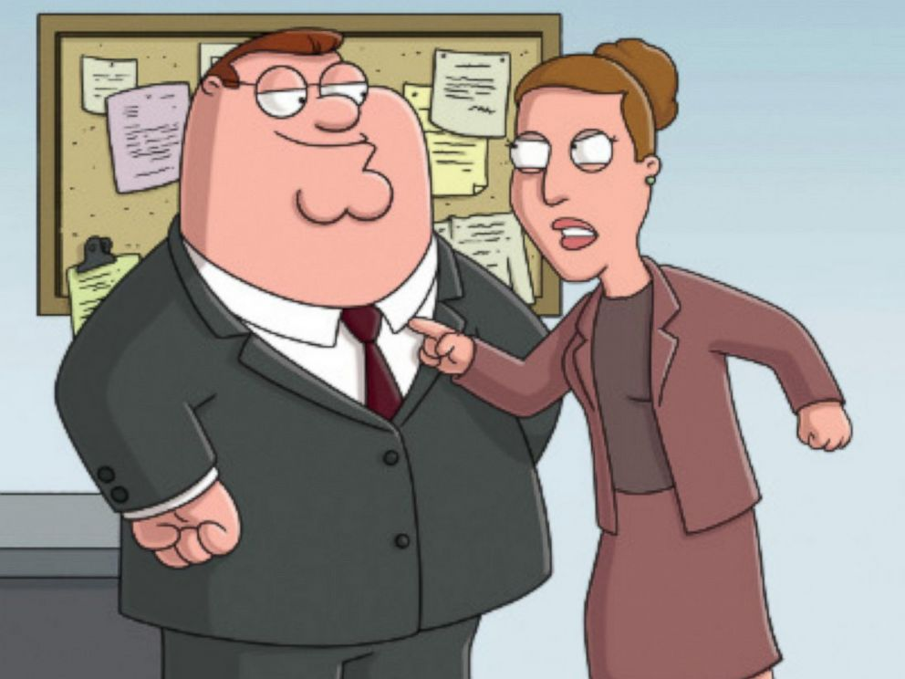 PHOTO: Peter Griffin, voiced by Seth MacFarlane, right, and boss Angela, voiced by Carrie Fisher, in a scene from Family Guy.