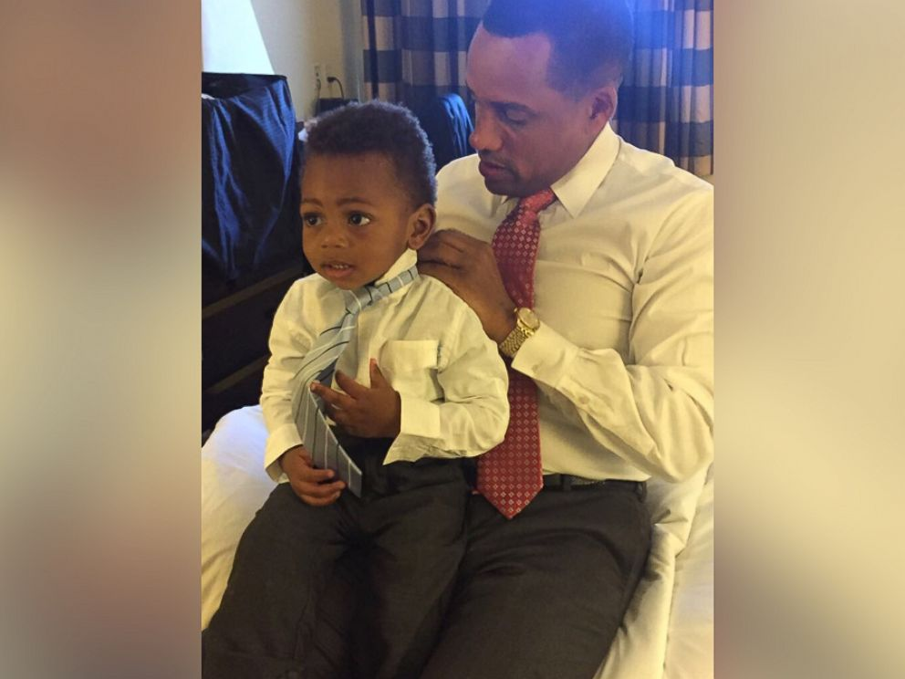 PHOTO: Hill Harper and his son wear matching shirts to celebrate the day the adoption was finalized.
