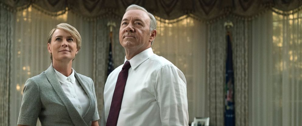"PHOTO: Robin Wright, as Claire Underwood, left, and Kevin Spacey, as Francis Underwood, in a scene from ""House of Cards."""