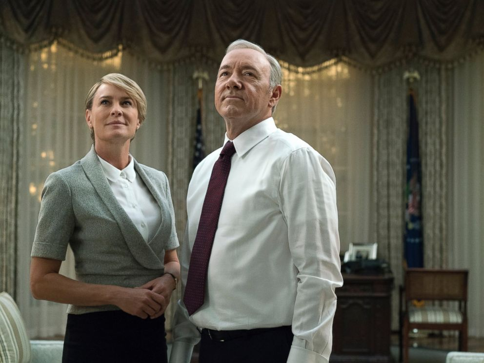 PHOTO: Robin Wright, as Claire Underwood, left, and Kevin Spacey, as Francis Underwood, in a scene from House of Cards.