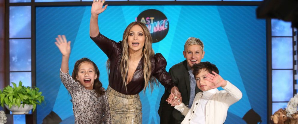 "PHOTO: Jennifer Lopez and her twins, Emme and Max with Ellen Degeneres on ""The Ellen DeGeneres Show"" in Burbank, Calif."