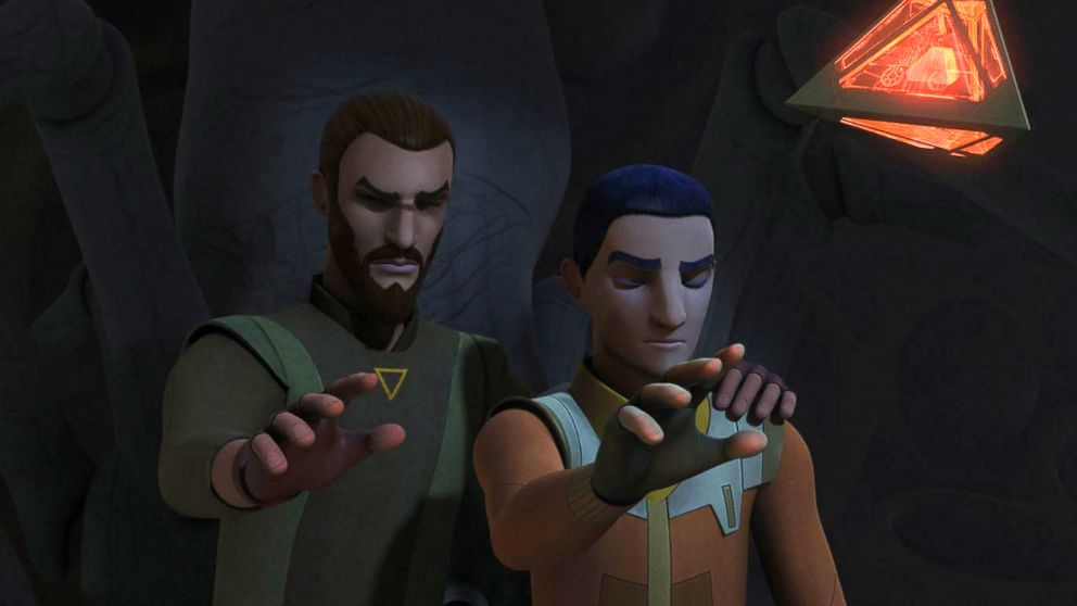 "Kanan Jarrus, left, and Ezra Bridger are pictured in Season 4 premiere of ""Star Wars Rebels"" (2017)."