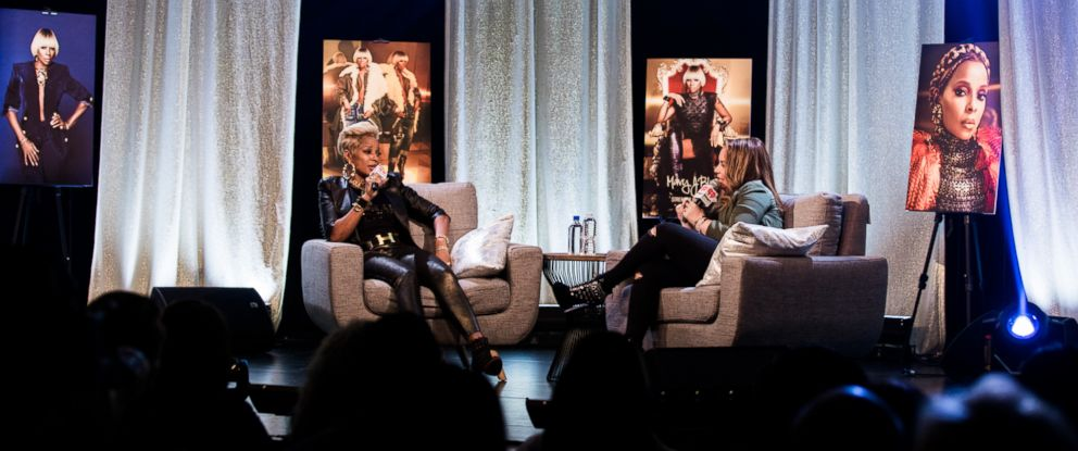 PHOTO: Mary J Blige speaks with host Angie Martinez at the iHeartRadio Album Release Party at the iHeartRadio Theater New York on May 2, 2017.