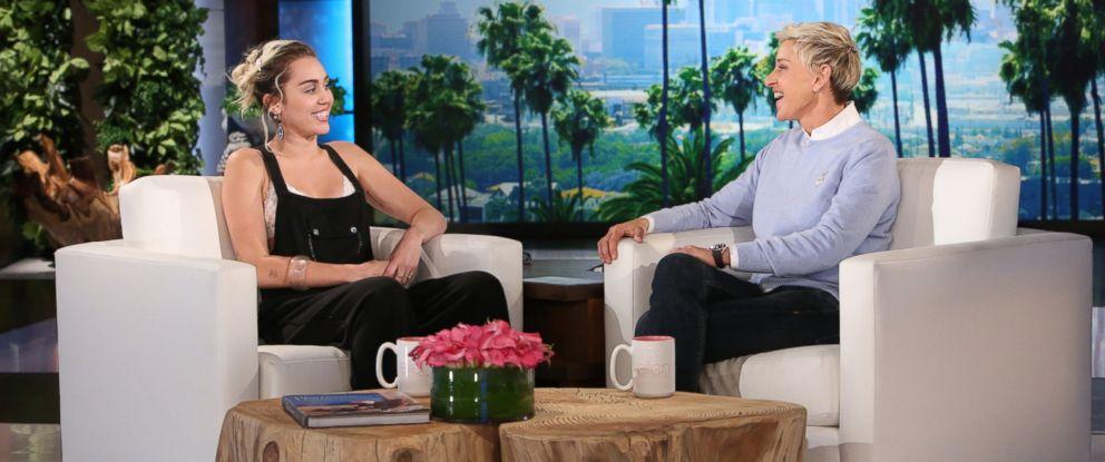 """PHOTO: Ellen DeGeneres interviewed Miley Cyrus during a taping of """"The Ellen DeGeneres Show."""""""