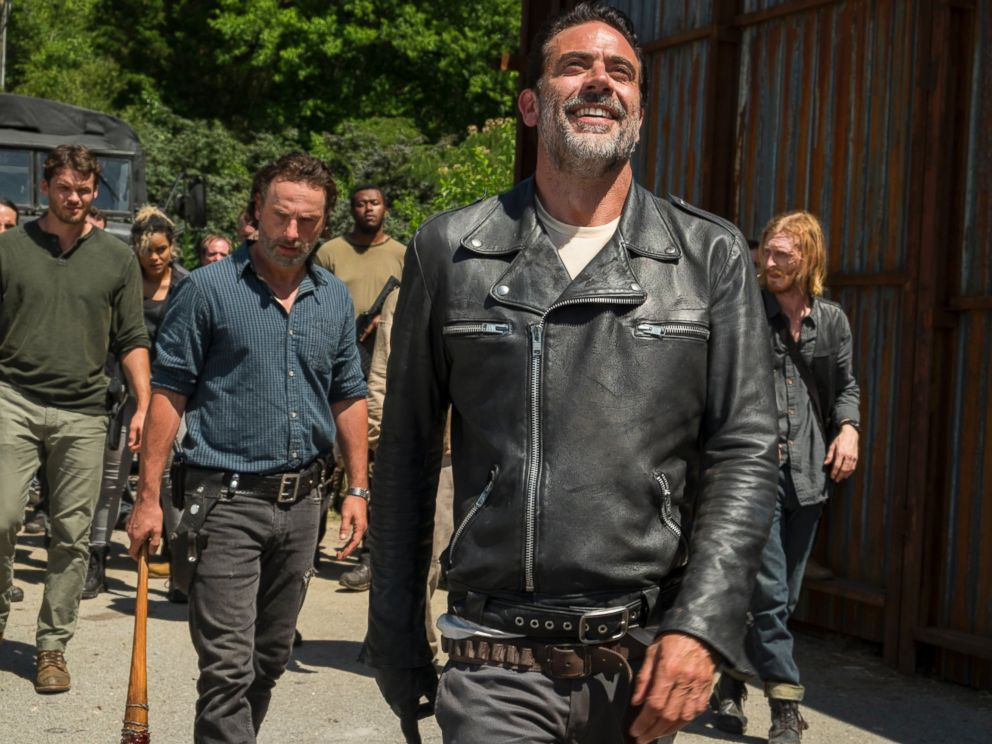PHOTO: Austin Nichols is seen here as Spencer Monroe, Andrew Lincoln as Rick Grimes and Jeffrey Dean Morgan as Negan in The Walking Dead.
