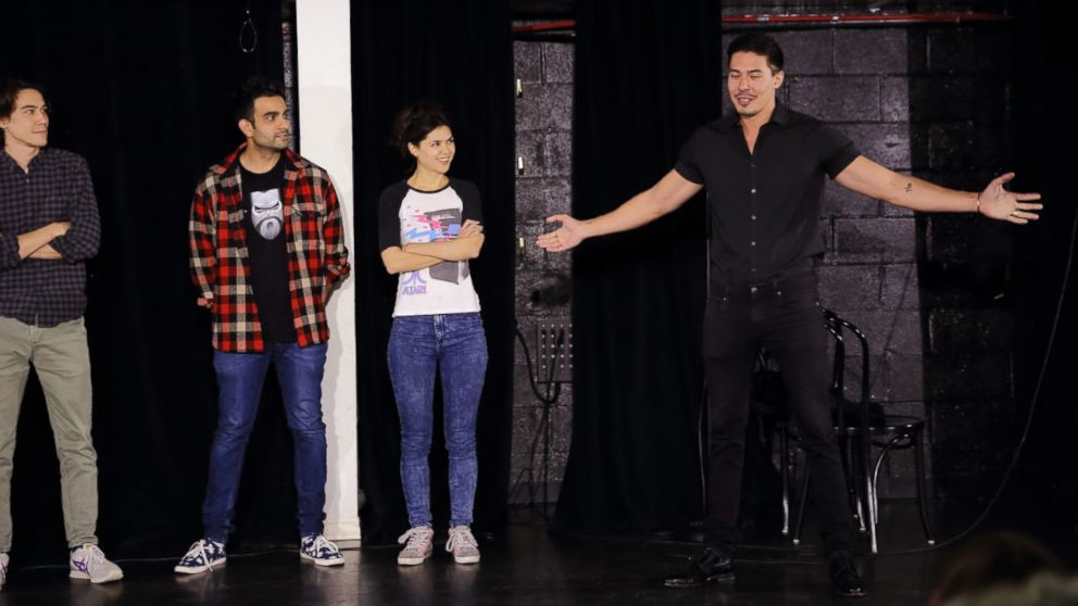 "Zac Oyama, Dhruv Uday Singh, Kathy Yamamoto, Lewis Tan performing at the UCB Theater for ""Asian AF"" in Los Angeles, May 12, 2017."