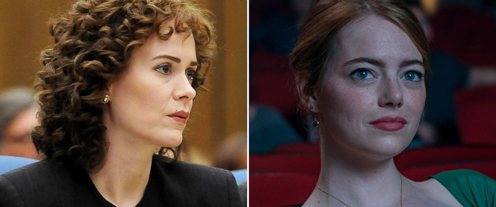 """PHOTO: Sarah Paulson, left, as Marcia Clark in a scene from """"The People Vs. O.J. Simpson: American Crime Story,"""" and Emma Stone as Mia in a scene from """"La La Land."""""""