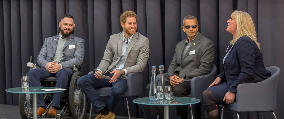 Prince Harry, 32, spoke with medical experts and military members at the Veterans Mental Health Conference at King's Center for Military Health Research in London.