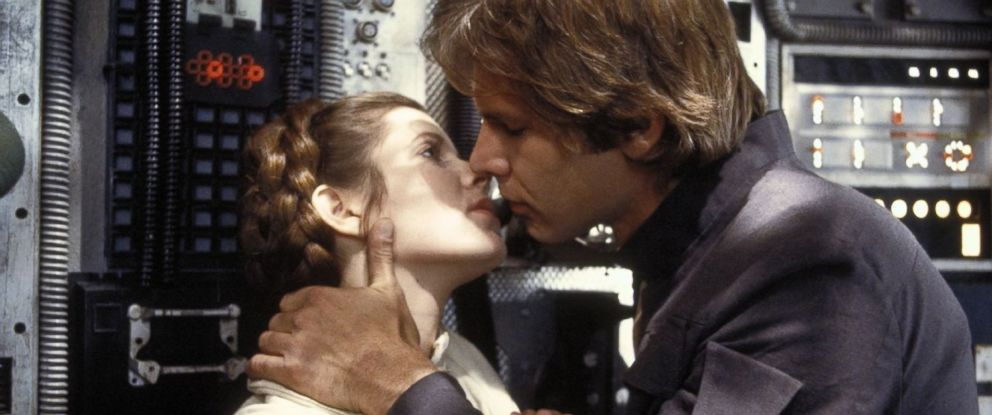 "PHOTO: Carrie Fisher and Harrison Ford in a scene from ""The Empire Strikes Back,"" 1980."