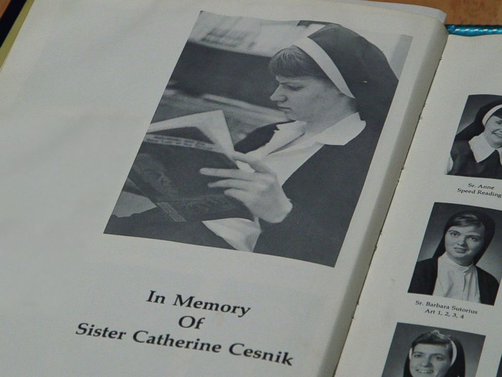 PHOTO: A yearbook dedication seen after Sister Cathy Cesnik was killed while she served as a teacher at Archbishop Keough High School in Baltimore, Md.
