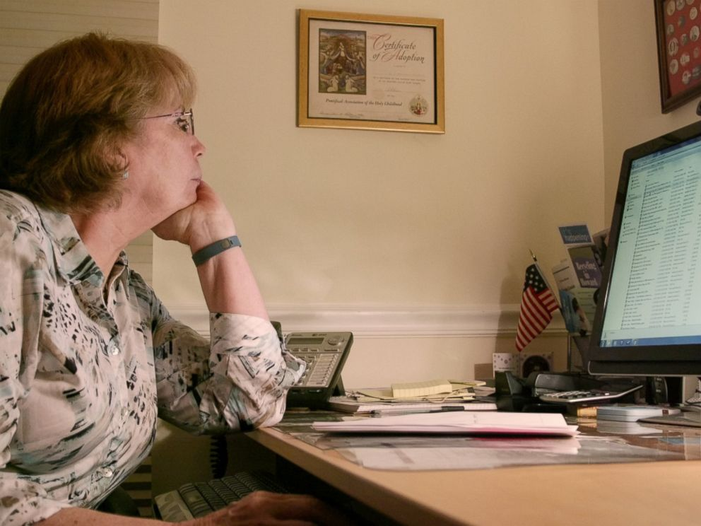 PHOTO: An undated image of Abbie Schaub, now 65, searching for answers on her home computer.