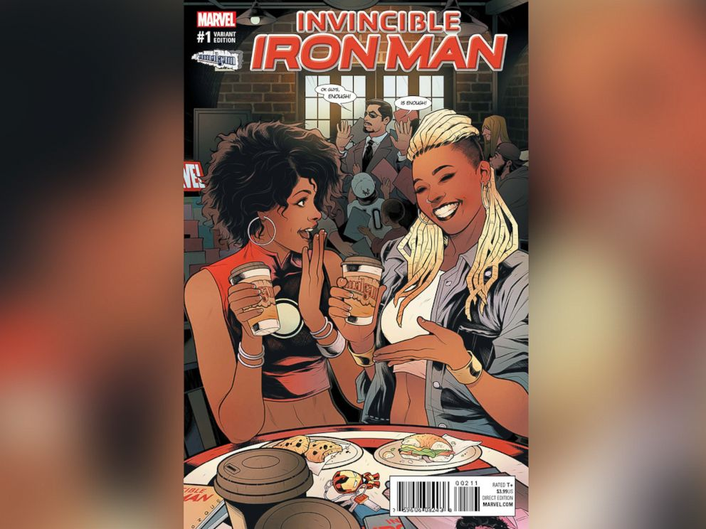 PHOTO: ABC News reveals the Amalgym Comics variant cover of Invincible Iron Man #1, featuring Ariell R. Johnson, founder and president of Amalgam Comics & Coffeehouse, Inc., and RiRi Williams.
