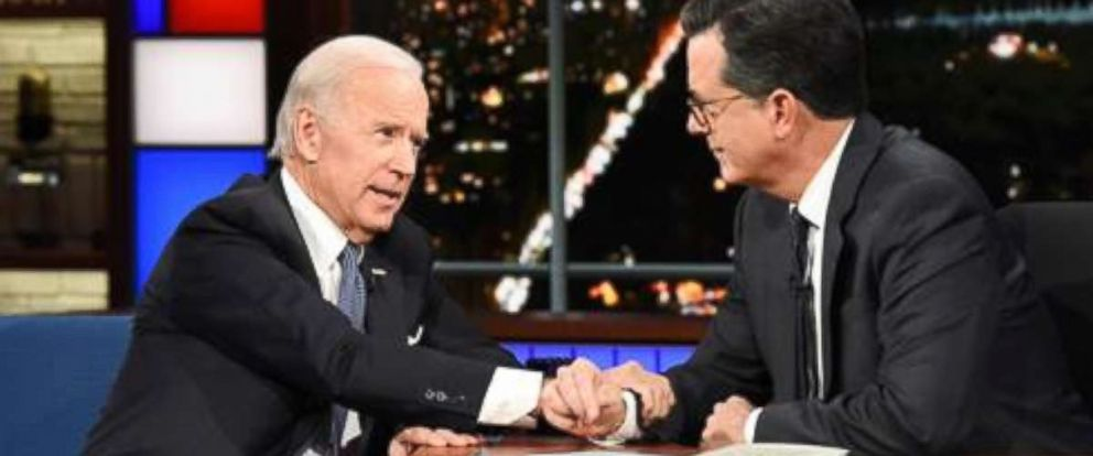 PHOTO: The Late Show with Stephen Colbert and guest Joe Biden during Mondays November 13, 2017 show.