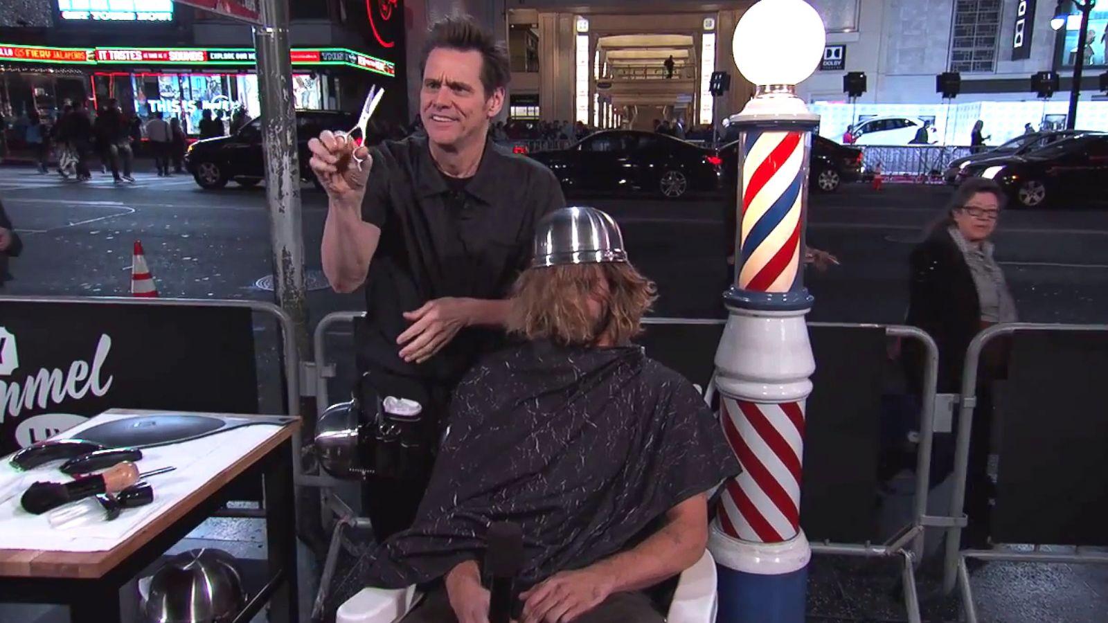 Jim Carrey Gave A Stranger A Bowl Haircut On Jimmy Kimmel Live