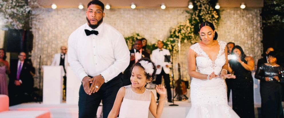 PHOTO: Following two years of delay to care for his daughter, Leah, during her cancer treatment, NFL player Devon Still finally married Asha Joyce this weekend.