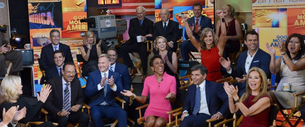 """PHOTO: """"Good Morning America"""" celebrates its 40th anniversary with an epic family reunion of anchors and contributors from the past and present in Times Square."""