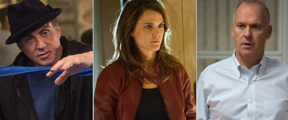 """PHOTO:Sylvester Stallone appears in a scene from """"Creed."""" Keri Russell in a scene from """"The Americans."""" Michael Keaton appears in a scene from """"Spotlight."""""""