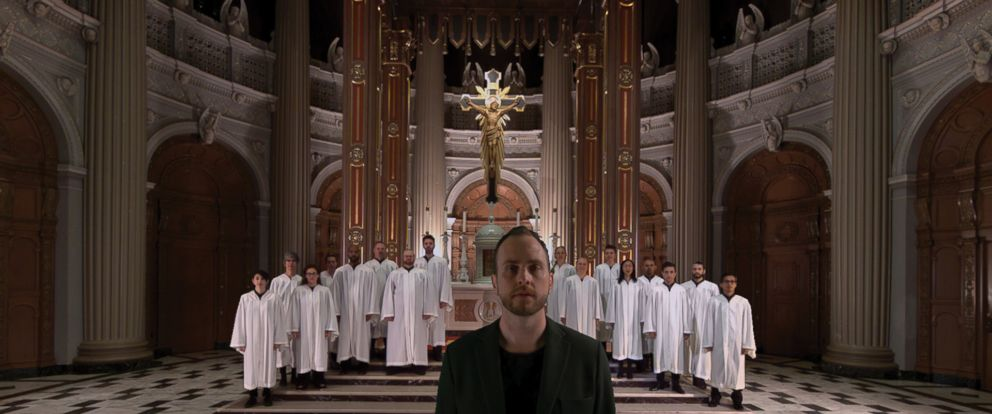 "PHOTO: Bobby Halvorson and church choir singing ""Hallelujah"" inside St. Ignatius Church in San Francisco, California."